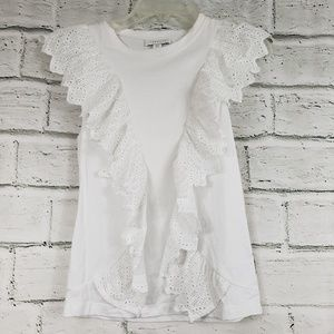 Topshop broderie front tank white